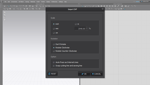 Import DXF Settings Saved